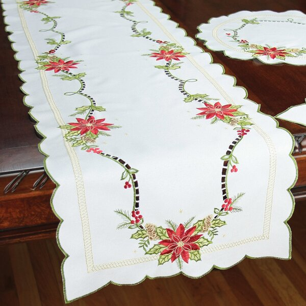 Scrolling Poinsettia Embroidered Cutwork Table Runner by Xia Home Fashions