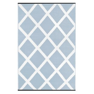 Order Lightweight Reversible Diamond Light Blue/White Indoor/Outdoor Area Rug By Wildon Home ®