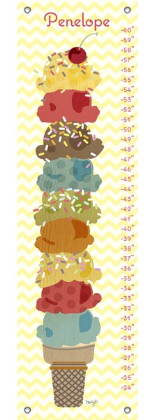 Sweet Treats Ice Cream Stack Personalized Canvas Growth Chart by Oopsy Daisy