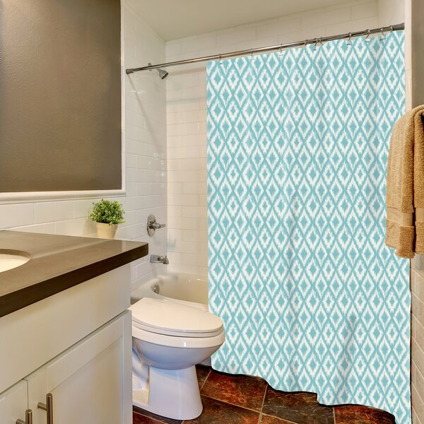 Ortez Ikat Ogee Print Shower Curtain by Ebern Designs