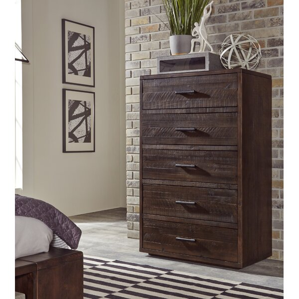 Ballesteros Five Drawer Solid Wood Chest In Espresso Pine by Millwood Pines