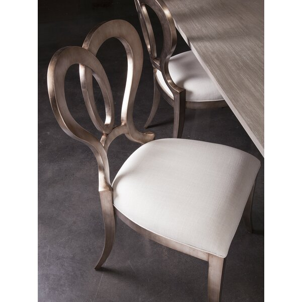 Signature Designs Linen Upholstered Queen Anne Back Side Chair In Warm Silver Leaf By Artistica Home