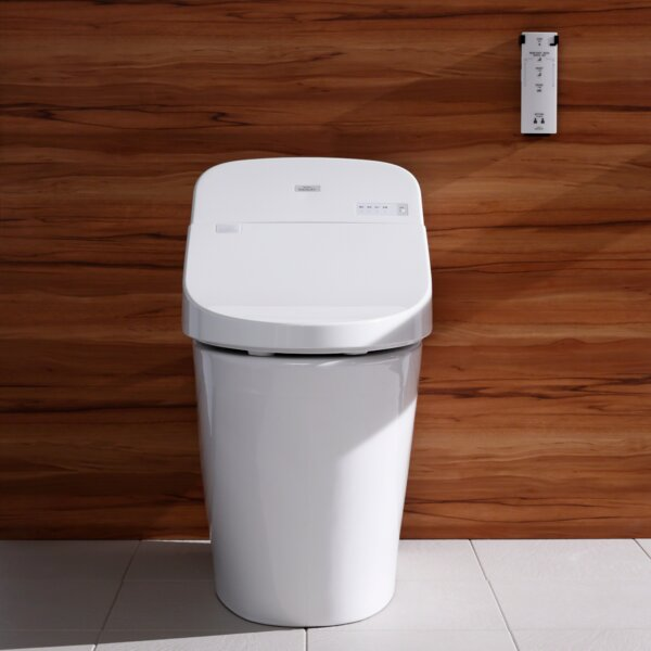 Washlet Dual Flush Elongated Floor Mounted Toilet with Tornado Flush System by Toto