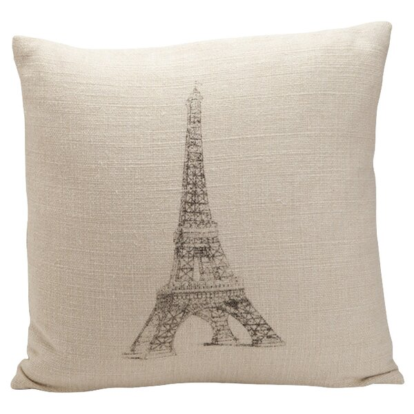 Auron Eiffel Tower Print Cotton Throw Pillow by Provence Home Collection