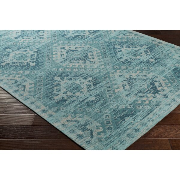 Hamza Hand-Woven Aqua/Teal Area Rug by Bungalow Rose