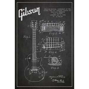 'Gibson Guitar Charcoal Patent Blueprint' Vintage Advertisement on Wrapped Canvas by Williston Forge