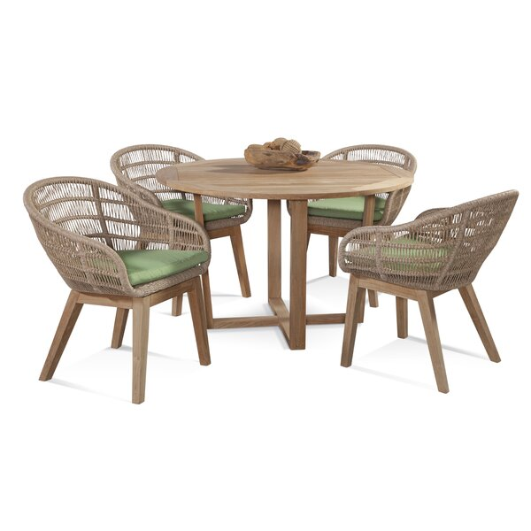 5 Piece Teak Dining Set with Cushions by Braxton Culler