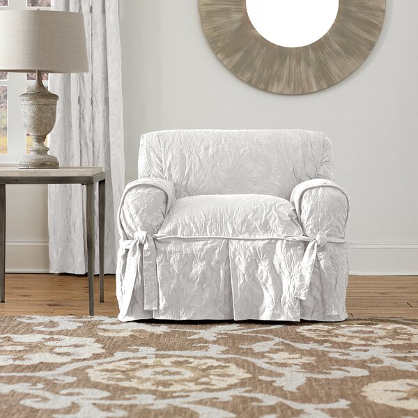 Matelasse Damask Box Cushion Armchair Slipcover by