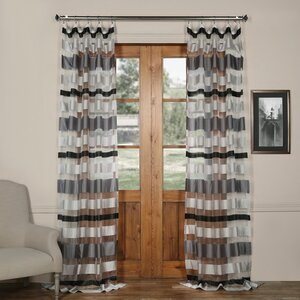 Atherstone Striped Sheer Tab Top Single Curtain Panel