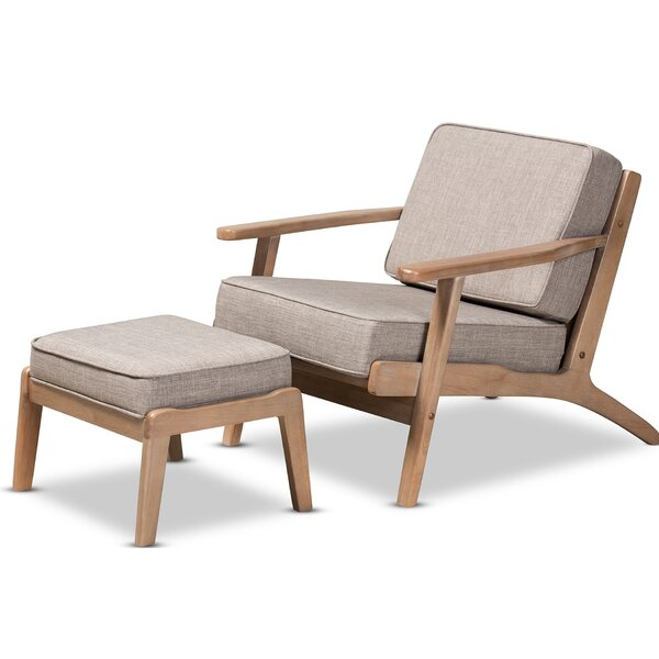 Padron Mid-Century Modern Light Grey Fabric Upholstered Antique Oak Finished 2-Piece Wood Armchair And Ottoman Set by George Oliver George Oliver