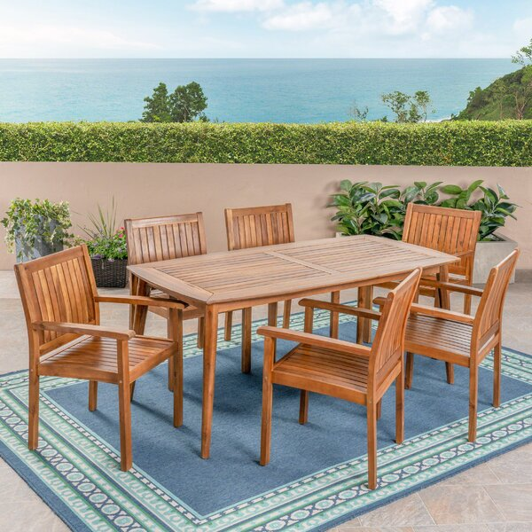 Bennett 7 Pieces in Set Teak Dining Set with Cushions by Millwood Pines