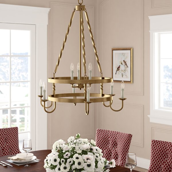 Anders 9 - Light Candle Style Wagon Wheel Chandelier by Darby Home Co Darby Home Co