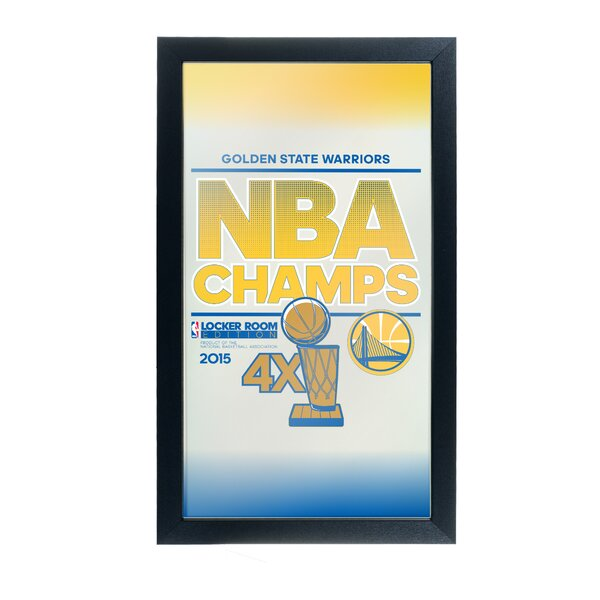 NBA Golden State Warriors 2015 Champions Framed Logo Wall Mirror by Trademark Global