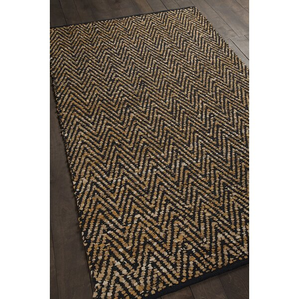 Salley Hand-Woven Gold/Black Area Rug by Brayden Studio