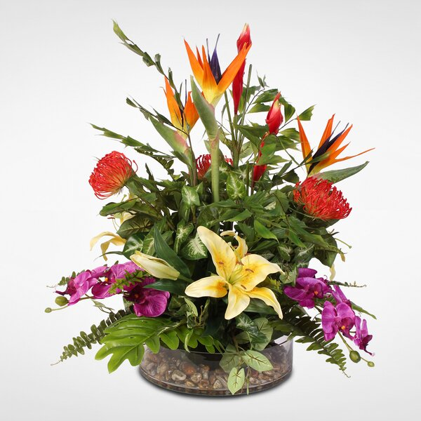 Exotic Tropical Silk Mixed Floral Arrangement in Glass Bowl by Bloomsbury Market