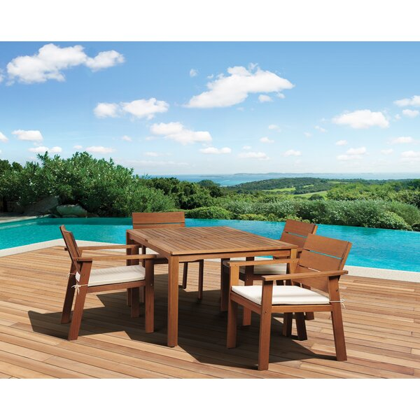 Trotwood International Home Outdoor 5 Piece Dining Set with Cushions by Highland Dunes