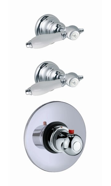 Herend Built-In Thermostatic Valve Trim with Two Volume Control Handles by Fima by Nameeks