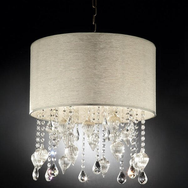 Drape Crystal 3 - Light Shaded Drum Chandelier By ORE Furniture