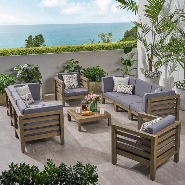 Kristin Outdoor 9 Piece Sofa Seating Group with Cushions by Corrigan Studio