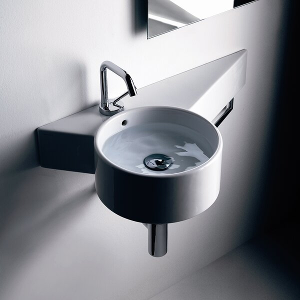 Tao Ceramic 12 Wall Mount Bathroom Sink with Overflow by WS Bath Collections