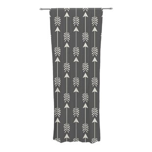 Tribal Arrows Graphic Print & Text Sheer Rod Pocket Curtain Panels (Set of 2 )