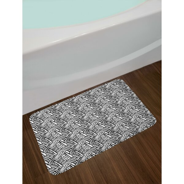 Hand Drawn Doodle Style Sketch Brush Strokes Effect Traditional Ink Art Bath Rug by East Urban Home