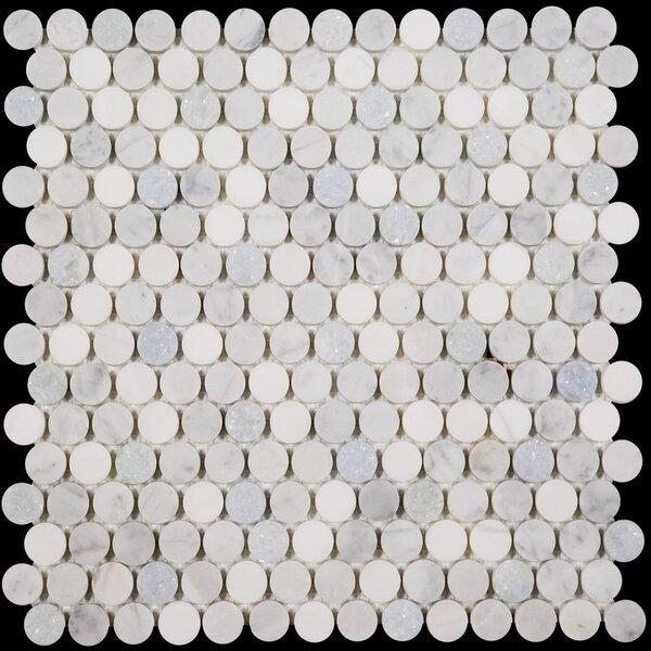 Penny Round Bianco Dolomite Honed 12 x 12 Marble Mosaic Tile in Blue Celeste by Ephesus Stones