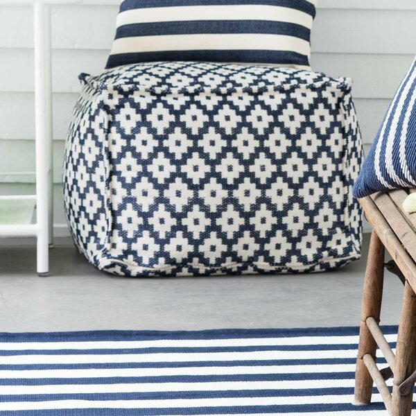 """Samode Navy/Ivory Indoor/Outdoor Pouf 25""""x23""""x17"""" by Fresh American"""
