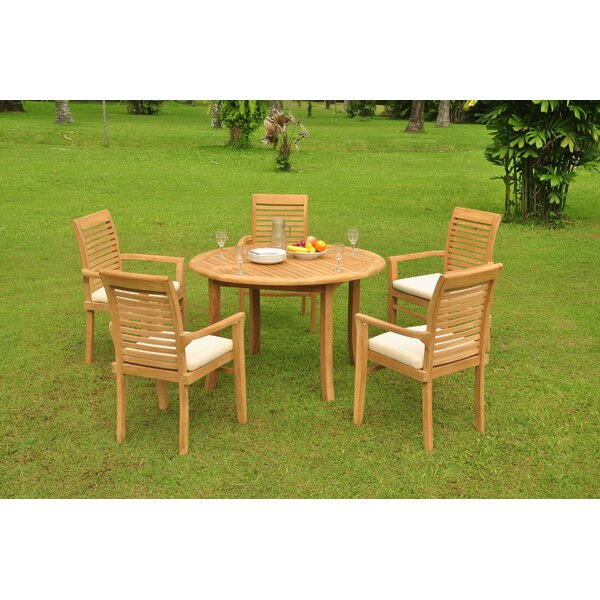 Hubbell 6 Piece Teak Dining Set by Rosecliff Heights