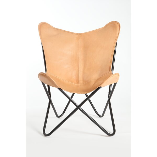 Cochrane Butterfly Saddle Natural Leather Lounge Chair by Foundry Select