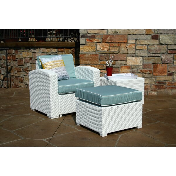 Loggins Lounge Patio Chair and Ottoman with Side Table by Brayden Studio