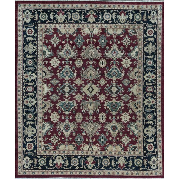Sultanabad Oriental Hand-Knotted Wool Red/Black Area Rug