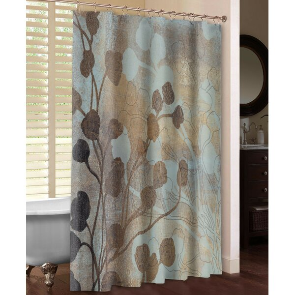 LauralHome Spa Blue and Gold Shower Curtain | Wayfair