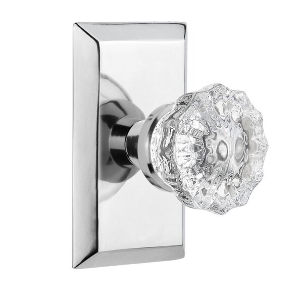 Crystal Glass Double Dummy Door Knob with Studio Plate by Nostalgic Warehouse