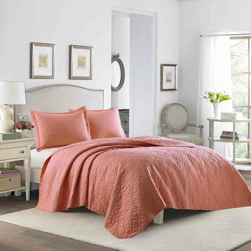 Laura Ashley Home Solid 100% Cotton Reversible Quilt Set by Laura ...
