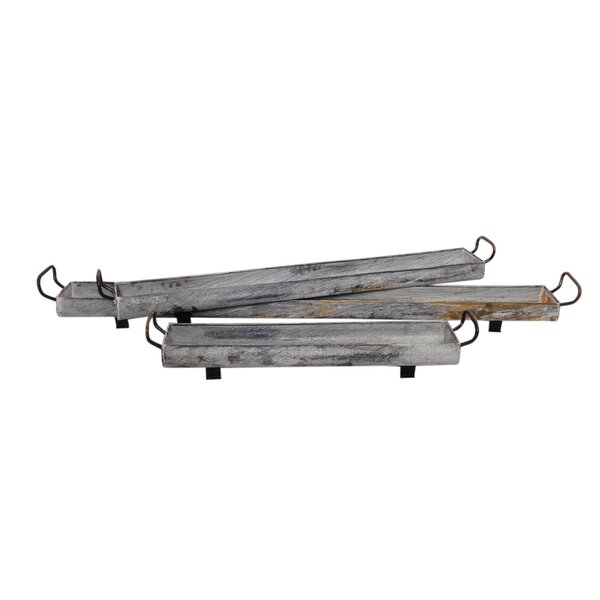 Tray 3 Piece Galvanized Iron Pot Planter Set by BIDKhome