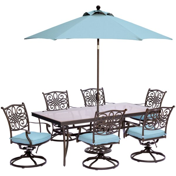 Carleton 7 Piece Dining Set with Cushions and Table Umbrella by Fleur De Lis Living
