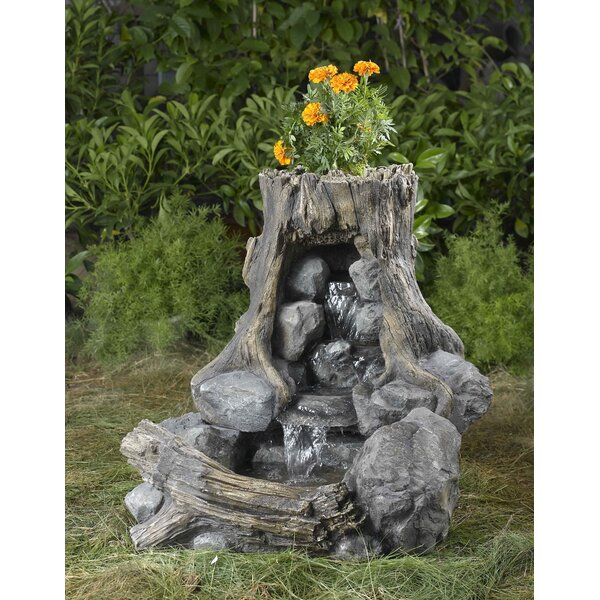 Resin/Fiberglass Wood and Rock Fountain by Jeco Inc.