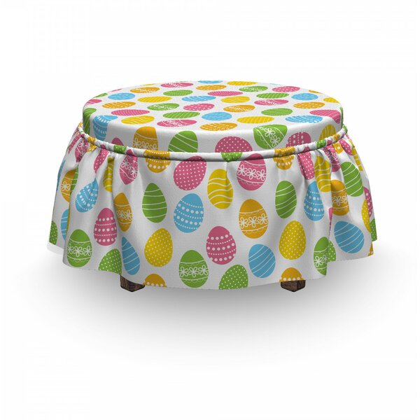 Easter Greeting Spring Holiday 2 Piece Box Cushion Ottoman Slipcover Set By East Urban Home