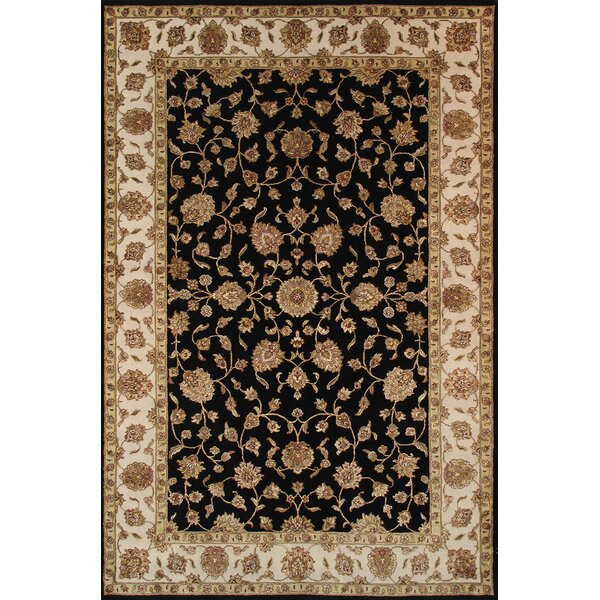 Agra Hand-Knotted Black Area Rug by Pasargad