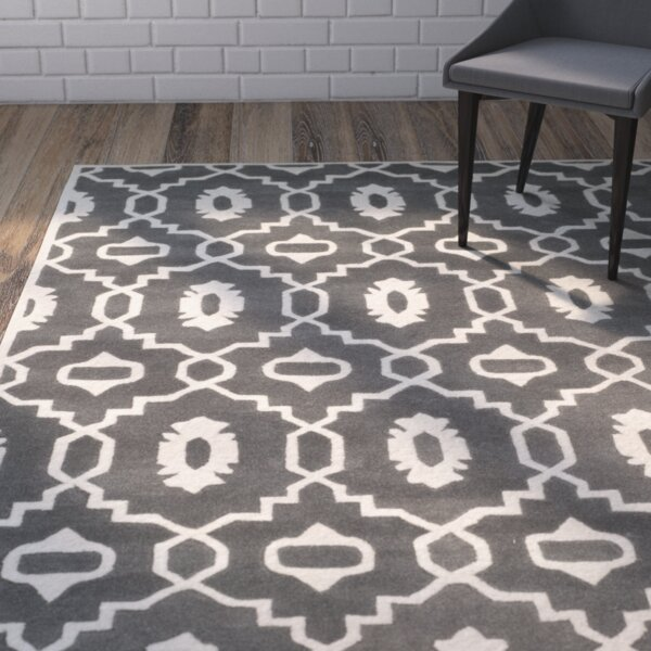 Wilkin Moroccan Hand-Tufted Wool Dark Gray/Ivory Area Rug by Wrought Studio