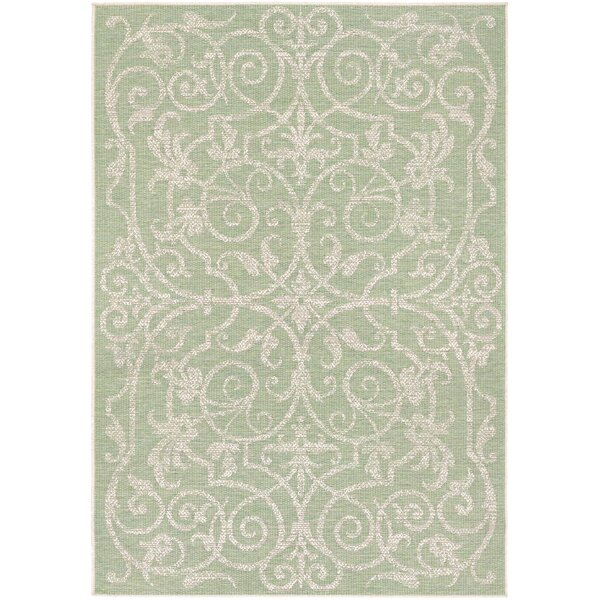 Kempton Ivory/Light Green Indoor/Outdoor Area Rug by One Allium Way