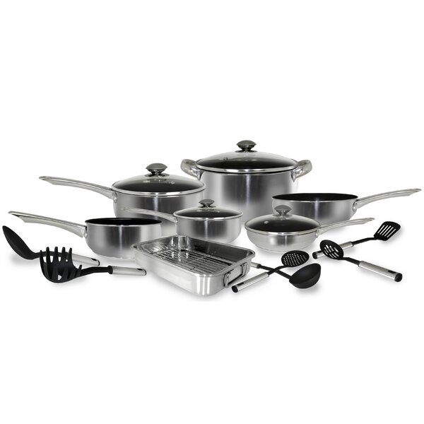 17 Piece Stainless Steel Belly Shape Cookware set by Cook Pro