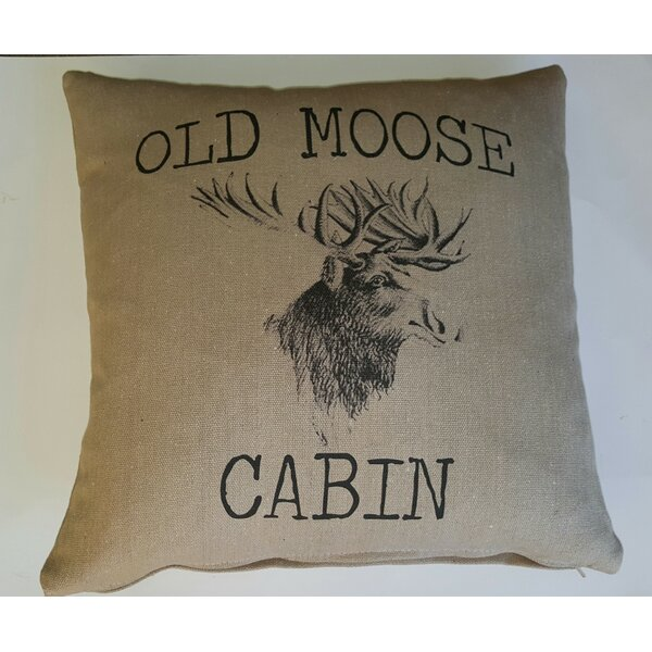 Old Moose Cabin Cotton Throw Pillow by French Laundry Home