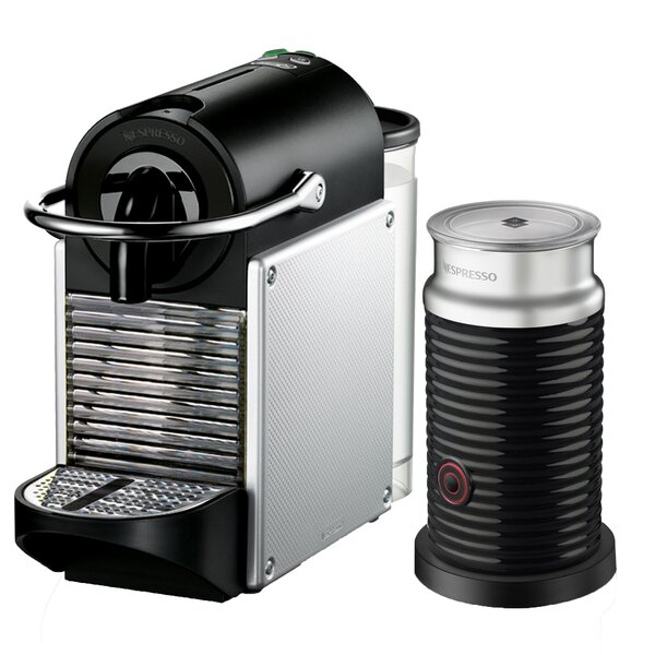 Delonghi Nespresso Pixie Single-Serve Espresso Machine with Aeroccino Milk Frother by Nespresso