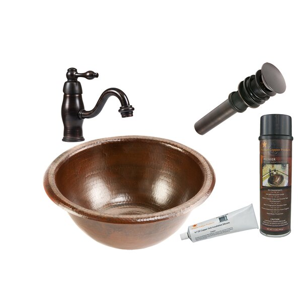 Oil Rubbed Bronze Metal Hand Hammered Circular Drop-In Bathroom Sink with Faucet