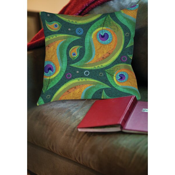 Peacock 9 Printed Throw Pillow by Manual Woodworkers & Weavers