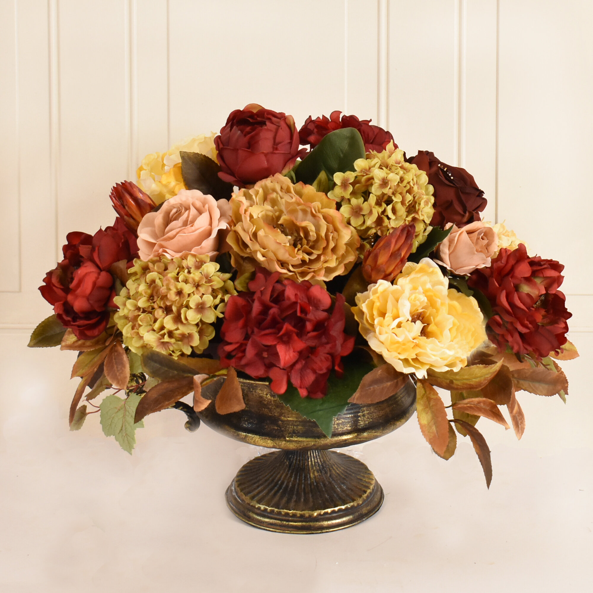 Canora Grey Large Burgundy And Gold Silk Flower Floral Arrangement