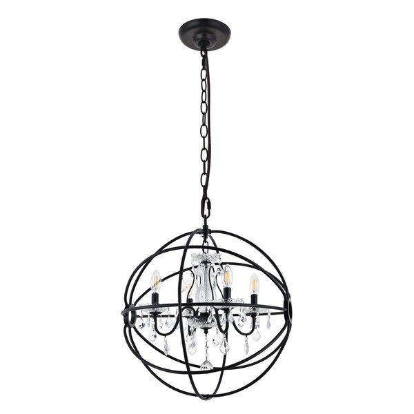 Clifton 4 - Light Unique Globe Chandelier By House Of Hampton