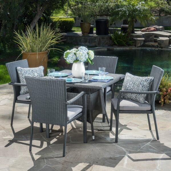 Meniko 5 Piece Rectangle Dining Set with Cushion b